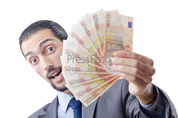 Молодой предприниматель с евро на белом фоне