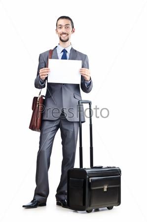 Фотография на тему Предприниматель с багажом на белом фоне