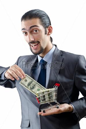Бизнесмен с деньгами на белом фоне