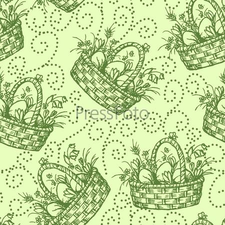 Текстура ткани с рисунком из пасхальных корзин