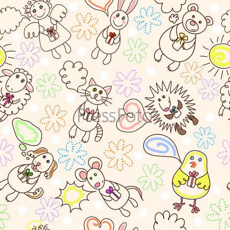 Текстура ткани с рисунком из животных