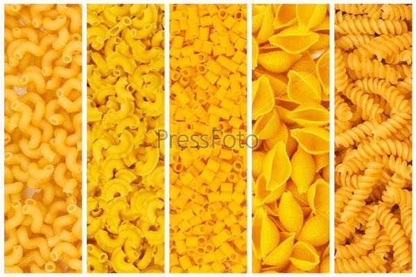 Фотография на тему Набор различных макаронных изделий в качестве фона