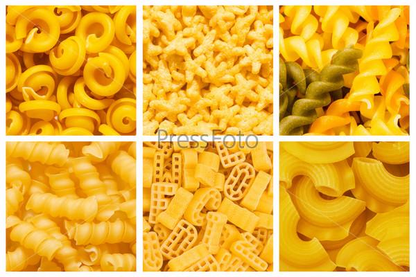 Набор различных макаронных изделий в качестве фона