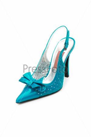 Фотография на тему Голубая женская туфля на белом фоне
