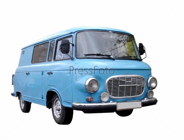 Фотография на тему Голубой микроавтобус на белом фоне