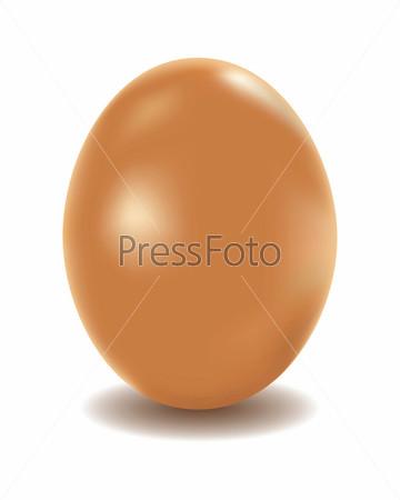 Куриное яйцо коричневого цвета на белом фоне