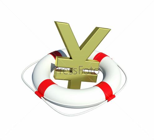 Знак йены в спасательном круге на белом фоне
