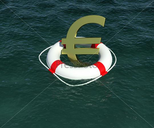 Знак евро в спасательном круге на белом фоне