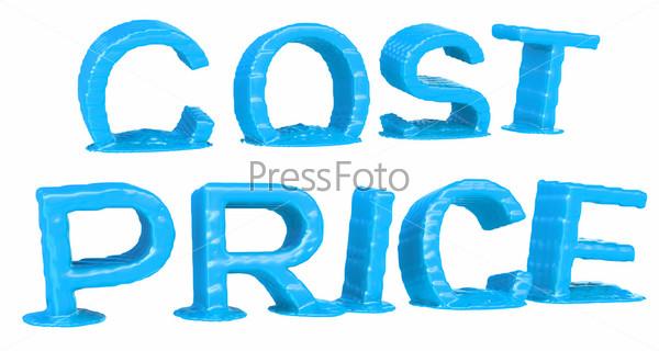 Слово «Цена» и «Стоимость» на белом фоне