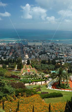 Фотография на тему Вид на сады Бахайского храма, Хайфа, Израиль