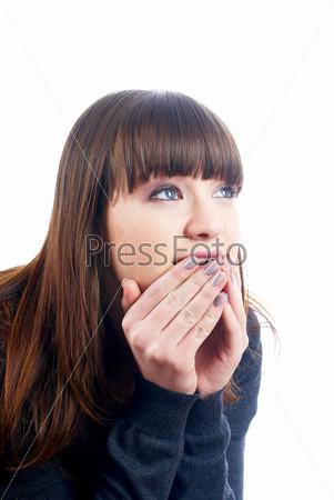 Фотография на тему Портрет удивленной девушки на белом фоне