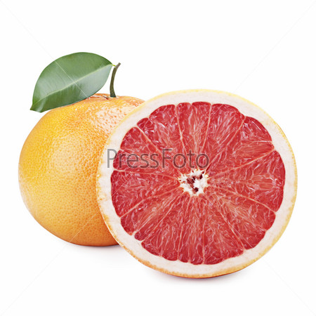 Фотография на тему Свежие грейпфруты, изолированы на белом фоне