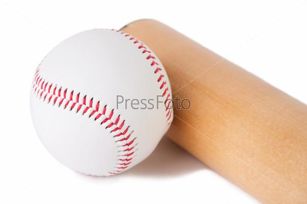 Фотография на тему Бейсбольная бита и мяч, крупный план, белый фон