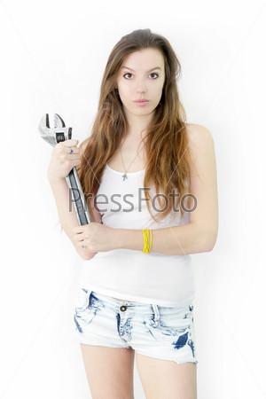 Фотография на тему Портрет девушки с гаечным ключом
