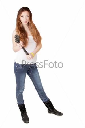 Портрет девушки с гаечным ключом