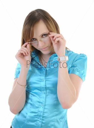 Фотография на тему Красивая девушка снимает очки