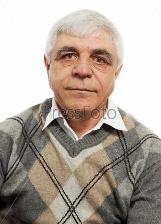 Фотография на тему Портрет пожилого мужчины на белом фоне