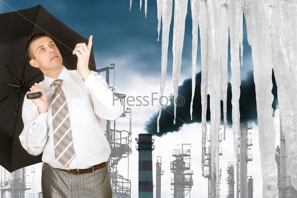 Фотография на тему Парниковый эффект в атмосфере от производственных выбросов, ведущий к глобальному таянию ледников