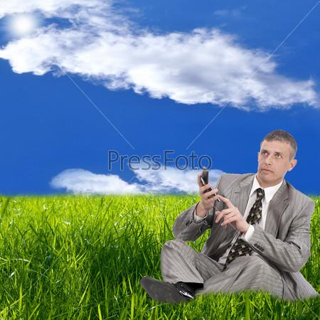 Фотография на тему Успешный бизнесмен считает финансовую прибыль на зеленом лугу