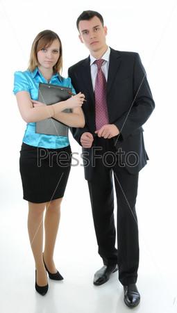 Фотография на тему Деловые мужчина и женщина стоят на белом фоне