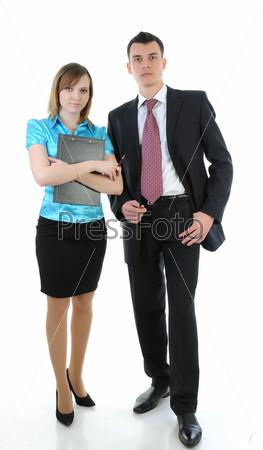 Деловые мужчина и женщина стоят на белом фоне