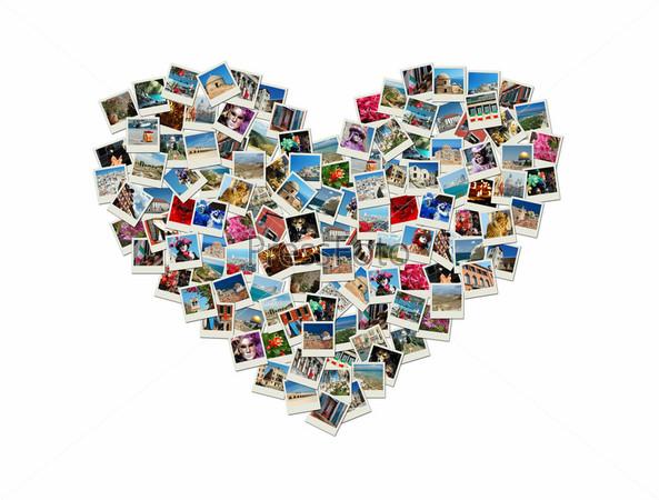 Коллаж в форме сердца из фотографий