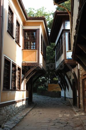 Средневековая улица старого центра города Пловдив, Болгария