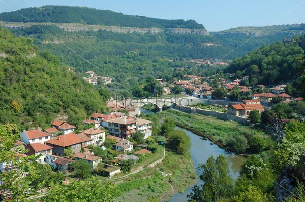 Старое Велико Тырново, панорама с холма Царевец, Болгария