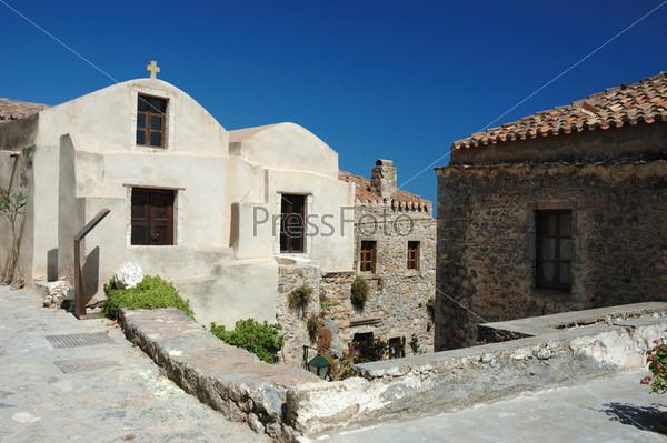 Фотография на тему Церкви старинного византийского города Монемвасия на восточном побережье Пелопоннеса, Греция