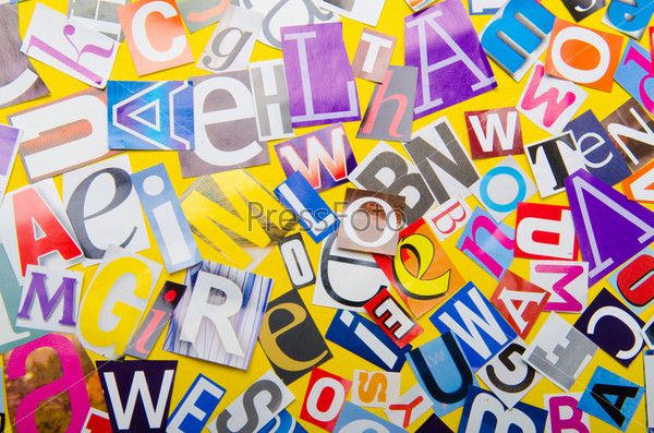 Газетные вырезки с различными буквами