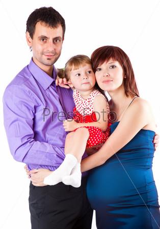 Фотография на тему Семейный портрет. Изоляция на белом фоне
