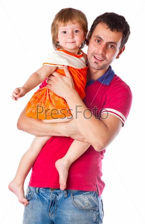 Фотография на тему Отец с дочерью на руках, изолированный на белом фоне