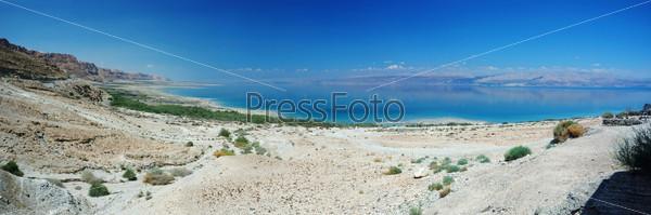 Панорама Мертвого моря и пустыни Арава, Израиль