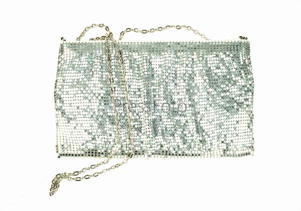 Серебряная женская сумка на белом фоне