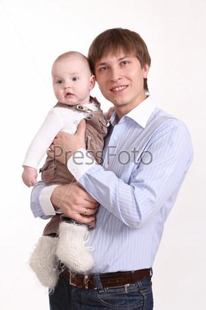 Фотография на тему Отец и сын на белом фоне