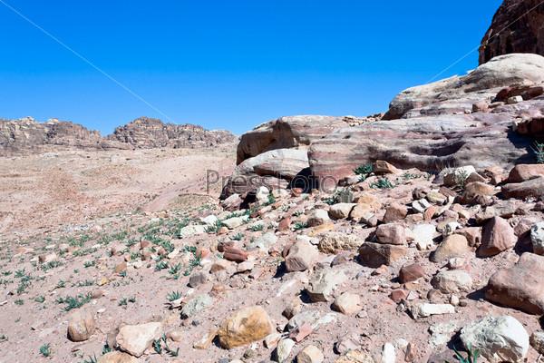Каменная пустыня в горной долине в древнем городе Петра, Иордания