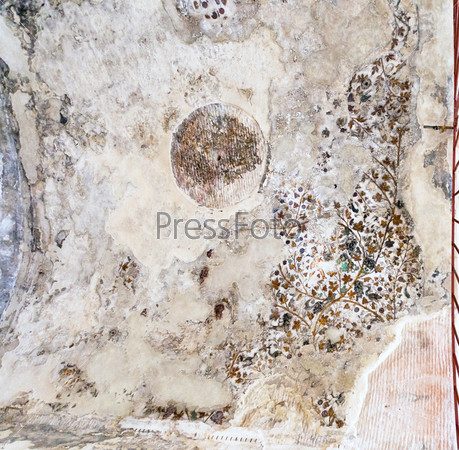 Древняя раскрашенная штукатурка на потолке одной из пещер в Малой Петре, Иордания