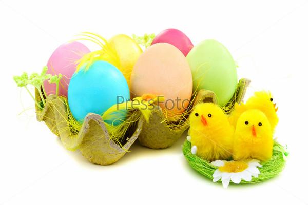 Пасхальные яйца и птенцы в гнезде на белом фоне