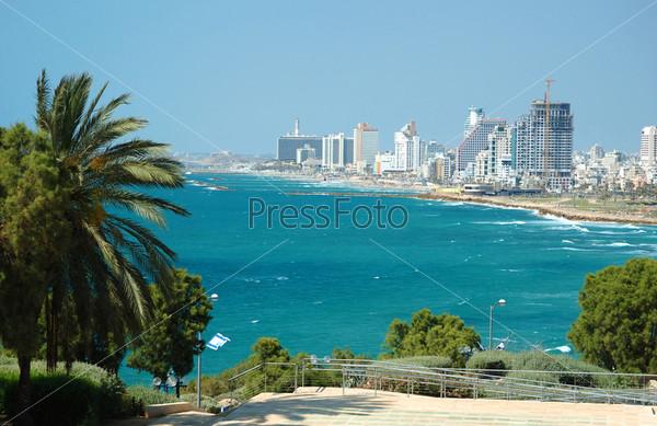 Фотография на тему Вид на морское побережье Тель-Авива из Яффы