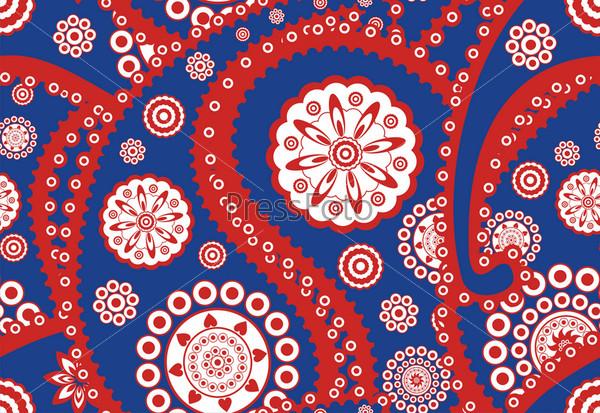 Фотография на тему Бесшовный векторный орнамент турецкий огурец (пейсли) в стиле ретро