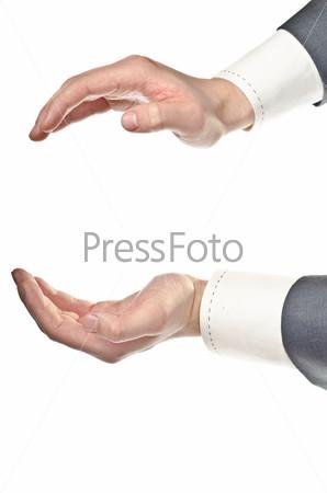 Фотография на тему Мужские руки держат что-то, изолированные на белом фоне