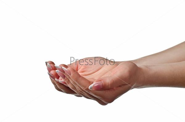 Фотография на тему Женские ладони, изолированные на белом фоне