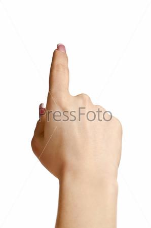 Женская рука нажимает на кнопку, изолированные на белом фоне