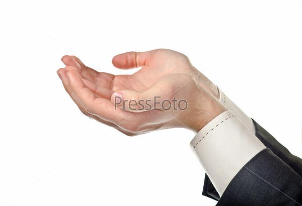 Мужские руки держат что-то, изолированные на белом фоне