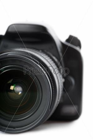 Фотография на тему Современный цифровой зеркальный фотоаппарат, изолированный на белом фоне