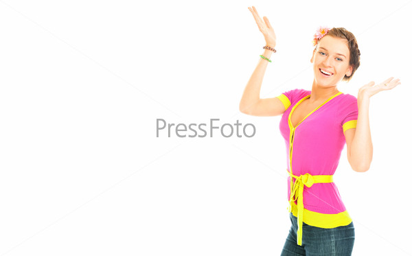 Pretty young woman with raised hands isolated on white background