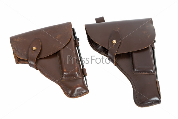 Two holster isolated on white background