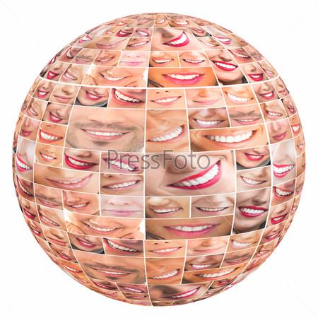 Faces of smiling people in global set. Healthy teeth. Smile