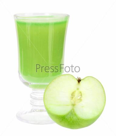 fresh green-apple juice and apple