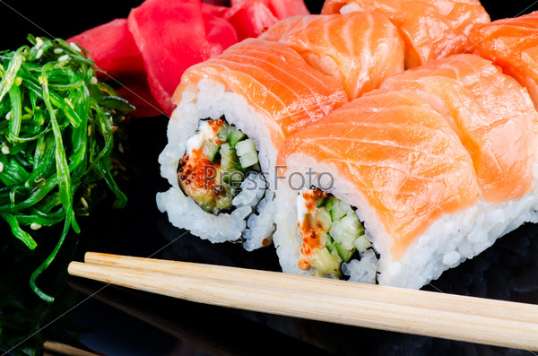 Roll made of salmon